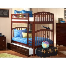 Richland Bunk Bed Twin over Twin with Raised Panel Trundle Bed in Walnut