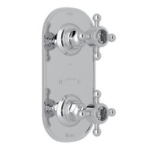 "Polished Chrome Italian Bath 1/2"" Thermostatic/Diverter Control Trim with Crystal Cross Handles"