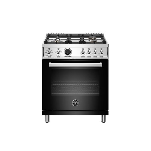 30 inch Dual Fuel Range, 4 Brass Burner, Electric Self-Clean Oven Black