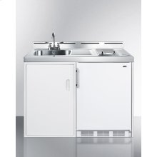 """48"""" Wide All-in-one Kitchenette With A Smooth Glass Cooktop, Cycle Defrost Refrigerator-freezer, Sink, and Storage Cabinet"""