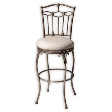Concord Metal Barstool with Linen Upholstered Swivel-Seat and Brushed Bronze Frame Finish, 30-Inch