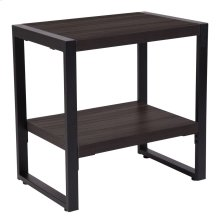 Charcoal Wood Grain Finish End Table with Black Metal Frame