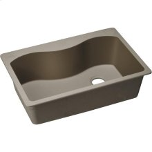 """Elkay Quartz Classic 33"""" x 22"""" x 9-1/2"""", Single Bowl Drop-in Sink, Greige"""