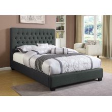 Chloe Transitional Charcoal Upholstered Eastern King Bed