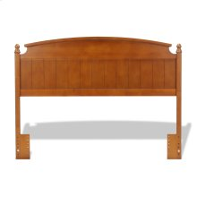 Danbury Wooden Headboard Panel with Curved Topped Rail and Carved Finials, Walnut Finish, Full / Queen