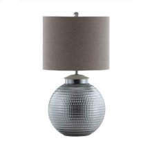 Silver and Oatmeal Table Lamp With Metal Base