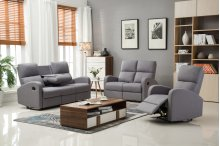 Alexander Gray Fabric Reclining Sofa with Drop-Down Console