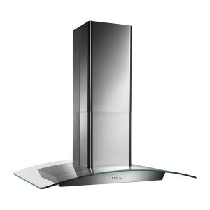 "Broan35-3/8"" X 25-5/8"", Island version, Stainless steel, Curved Glass Canopy, 500 CFM, Electronic control"