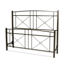 Russett Metal Headboard and Footboard Bed Panels with Modest Sloping Top Rails, Liquid Bronze Finish, King
