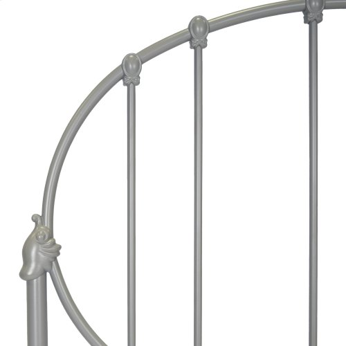 Emory Fashion Kids Complete Metal Bed and Steel Support Frame with Oval-Shape Spindle Panels and Decorative Curved Base, Gray Finish, Twin