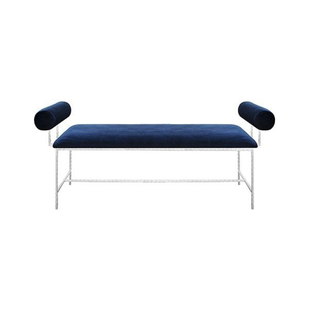 Bolster Arm Silver Leaf Bench In Navy Velvet - Seat Height 17""