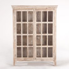 """Coral Gables 52"""" Tall Glass Cabinet Whitewash"""