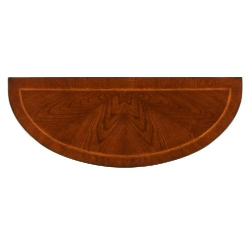 With simple lines, traditional styling and demilune shape, this elegant console table will enhance your space for years to come. Crafted from select solid woods and choice veneers, this classic design boasts a rich Plantation Cherry finish and a beautiful