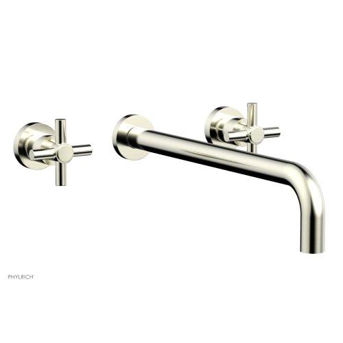 "Basic Wall Tub Set 14"" Spout - Tubular Cross Handles D1134-14 - Satin Nickel"
