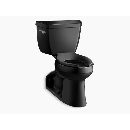 Black Black Comfort Height Two-piece Elongated 1.0 Gpf Toilet With Pressure Lite Flushing Technology, Left-hand Trip Lever and Toilet Tank Locks