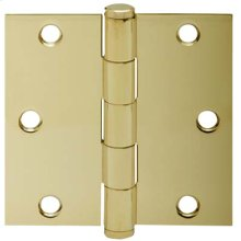 "Door Hardware  3.5"" Square Hinge - Bright Brass"