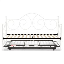 Caroline Complete Metal Daybed with Euro Top Spring Support Frame and Pop-Up Trundle Bed, Antique White Finish, Twin