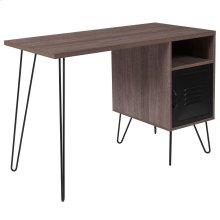 Rustic Wood Grain Finish Computer Desk with Metal Cabinet Door and Black Metal Legs
