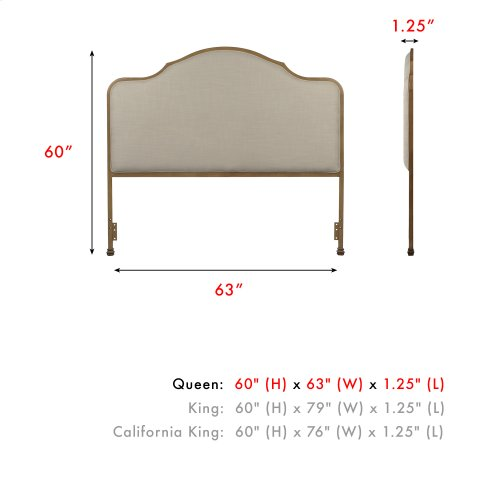 Calvados Metal Headboard Panel with Sand Colored Upholstery, Natural Oak Finish, Queen