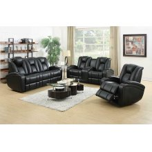 Zimmerman Black Faux Leather Power Motion Three-piece Living Room Set
