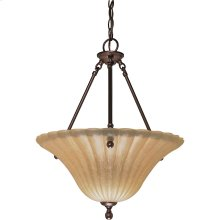 "3-Light 16"" Copper Bronze Hanging Pendant Light Fixture with Champagne Linen Washed Glass"