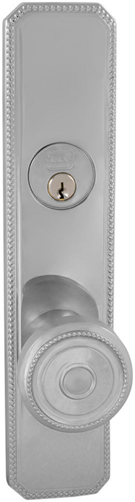 Exterior Traditional Mortise Beaded Entrance Knob Lockset with Plates in (US26 Polished Chrome Plated)