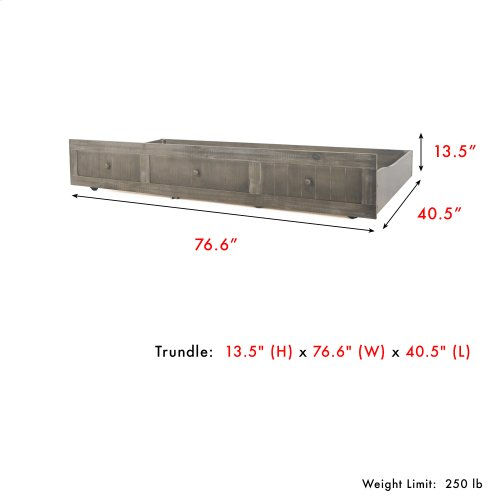 Carston Wood Roll Out Trundle Drawer for Daybed, Washed Gray Finish, Twin