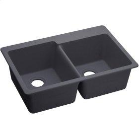 """Elkay Quartz Luxe 33"""" x 22"""" x 9-1/2"""", Offset Double Bowl Drop-in Sink"""