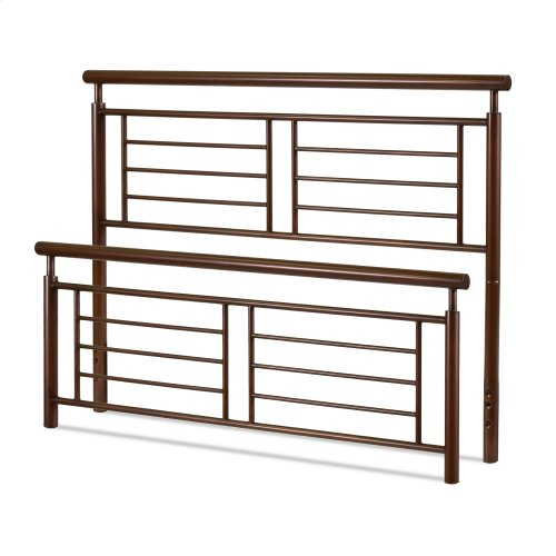 Southport Metal Headboard and Footboard Bed Panels with Geometric Grills and Rounded Top Rails, Copper Penny Finish, Full