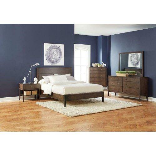 Lompoc Mid-century Modern Brown Walnut Eastern King Bed