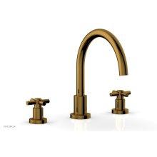 BASIC Deck Tub Set - Tubular Cross Handles D1134C - French Brass