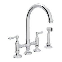 Polished Chrome Italian Kitchen San Julio Deck Mount C-Spout 3 Leg Bridge Kitchen Faucet With Sidespray with Metal Lever