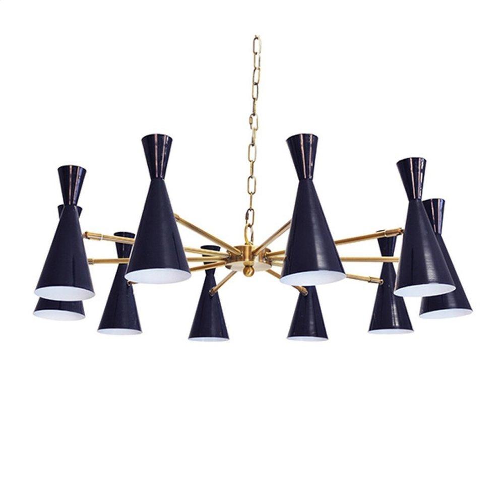 Ten Light Chandelier With Hour Glass Navy Shades In Antique Brass