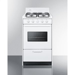 "Summit20"" Wide Gas Range In White With Sealed Burners, Oven Window, Interior Light, and Electronic Ignition"