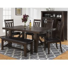 Kona Grove Dining Table With Six Slat Back Dining Chairs