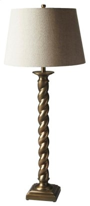 This classic table lamp will brilliantly light any space. Featuring an antique brass finish, it is hand crafted from aluminum with an iron harp and linen shade. Product Image