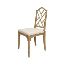 """Chippendale Style Bamboo Dining Chair In Cerused Oak With Linen Cushion Seat Height 18.5"""""""