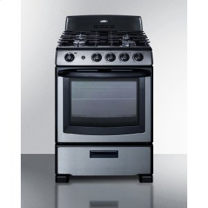 "Summit24"" Wide Gas Range In Stainless Steel With Oven Window, Sealed Burners, and Continuous Cast Iron Grates; Replaces Pro246ss"