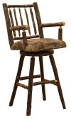 """Hickory Swivel Counter Stool with Arms and Upholstered Seat - 24"""" - Standard Fabric"""