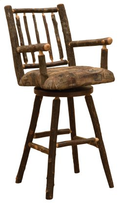 """Hickory Swivel Barstool with Arms and Upholstered Seat - 30"""" - Standard Fabric"""