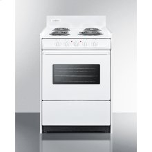 "24"" Wide Electric Range In White With Oven Window, Interior Light, and Lower Storage Compartment"