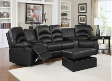Ventura Black Bonded Leather Reclining Theater Set with Storage Ottoman