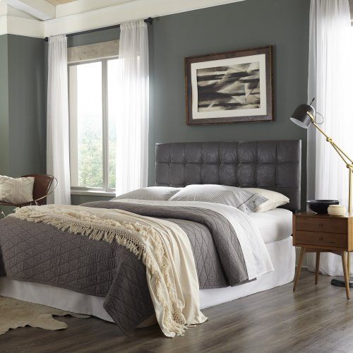 La Brea Button-Tuft Faux Leather Upholstered Headboard with Adjustable Height, Gray Finish, Full / Queen