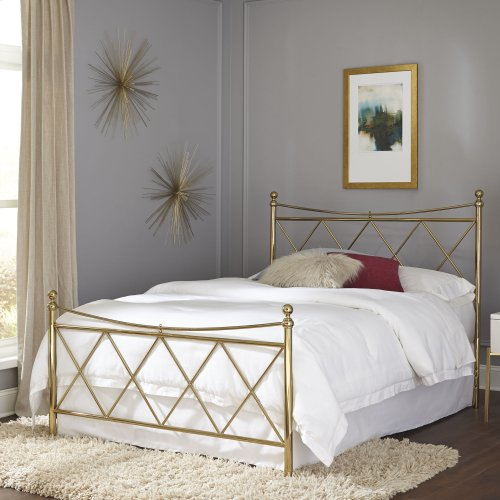Lennox Metal Headboard and Footboard Bed Panels with Diamond Pattern Design and Downward Sloping Top Rails, Classic Brass Finish, Queen