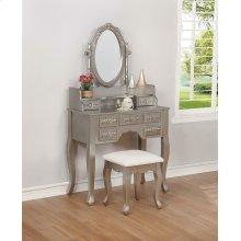 Contemporary Metallic Silver Vanity Set