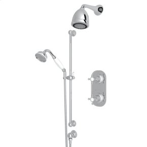 Polished Chrome GEORGIAN ERA U.KIT72LS THERMOSTATIC SHOWER PACKAGE with Georgian Era Cross Handle