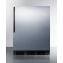 ADA Compliant Built-in Undercounter All-refrigerator for Residential Use, Auto Defrost With Stainless Steel Wrapped Door, Thin Handle, and Black Cabinet