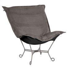 Scroll Puff Chair Bella Pewter Titanium Frame