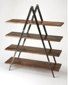 Display photos, books and other cherished items on this stylish modern etagere. Perfect in the living room as a room divider or in the office, its distressed black iron compass-like legs artfully support four shelves made from solid mango in a creosote br Product Image