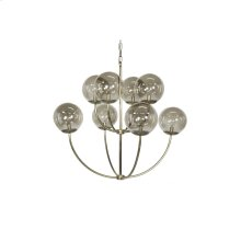 8 Arm Two Tier Antique Brass Chandelier With Smoke Colored Globes